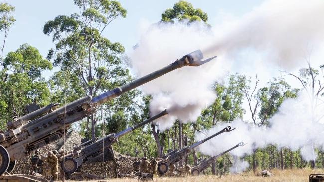 The M777 155mm lightweight towed howitzer cannons in action at Shoalwater Bay training area, near Rockhampton.