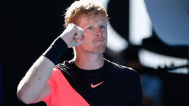 Kyle Edmund reacts to his huge win. Picture: Getty Images
