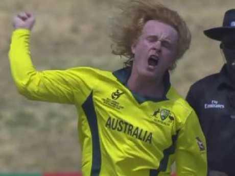 Lloyd Pope celebrates leading Australia to victory.
