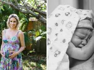 Jessica Brockie gave birth to a baby boy as a surrogate parent. Picture: Twitter