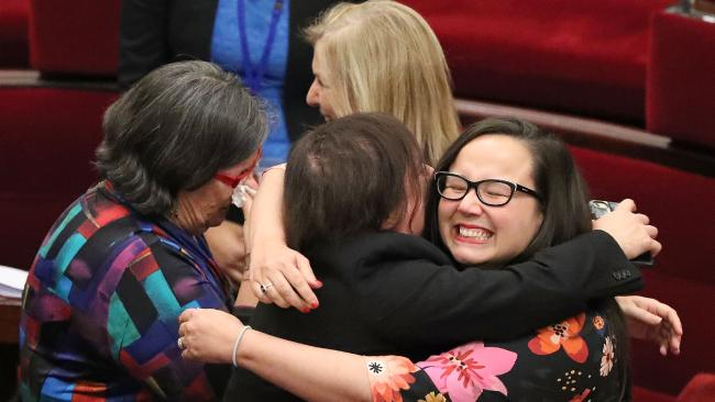 Victorian MPs celebrate as that state's euthanasia bill passes. (Pic: Scott Barbour/Getty)