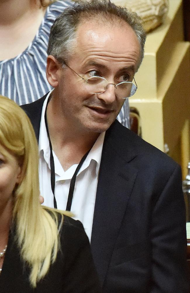Euthanasia advocate Andrew Denton watches as Victoria passes assisted-dying legislation late last year.
