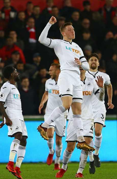Swansea City's English defender Alfie Mawson.