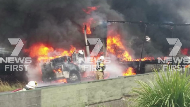 Firefighters battle the blaze that closed the highway in both directions.