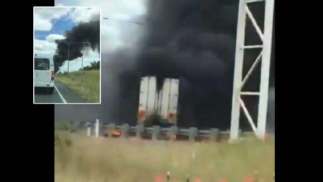 Smoke from the truck fire could be seen several kilometres away.