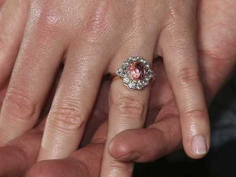Princess Eugenie shows off her engagement ring.