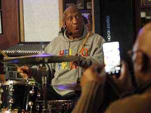 Bill Cosby plays the drums at the LaRose Jazz Club in Philadelphia on Monday.