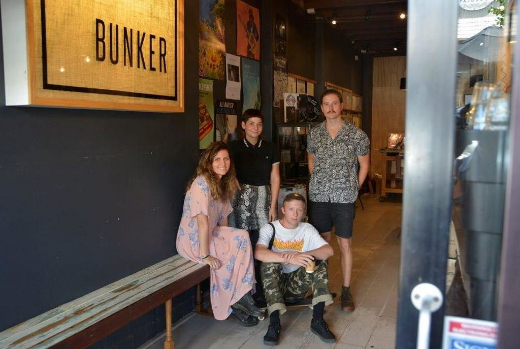 (From left) Kirsty Lee, Alice Mathison, Darcy Campbell and Stephen Payton at Bunker Records and Espresso on Margaret Street.