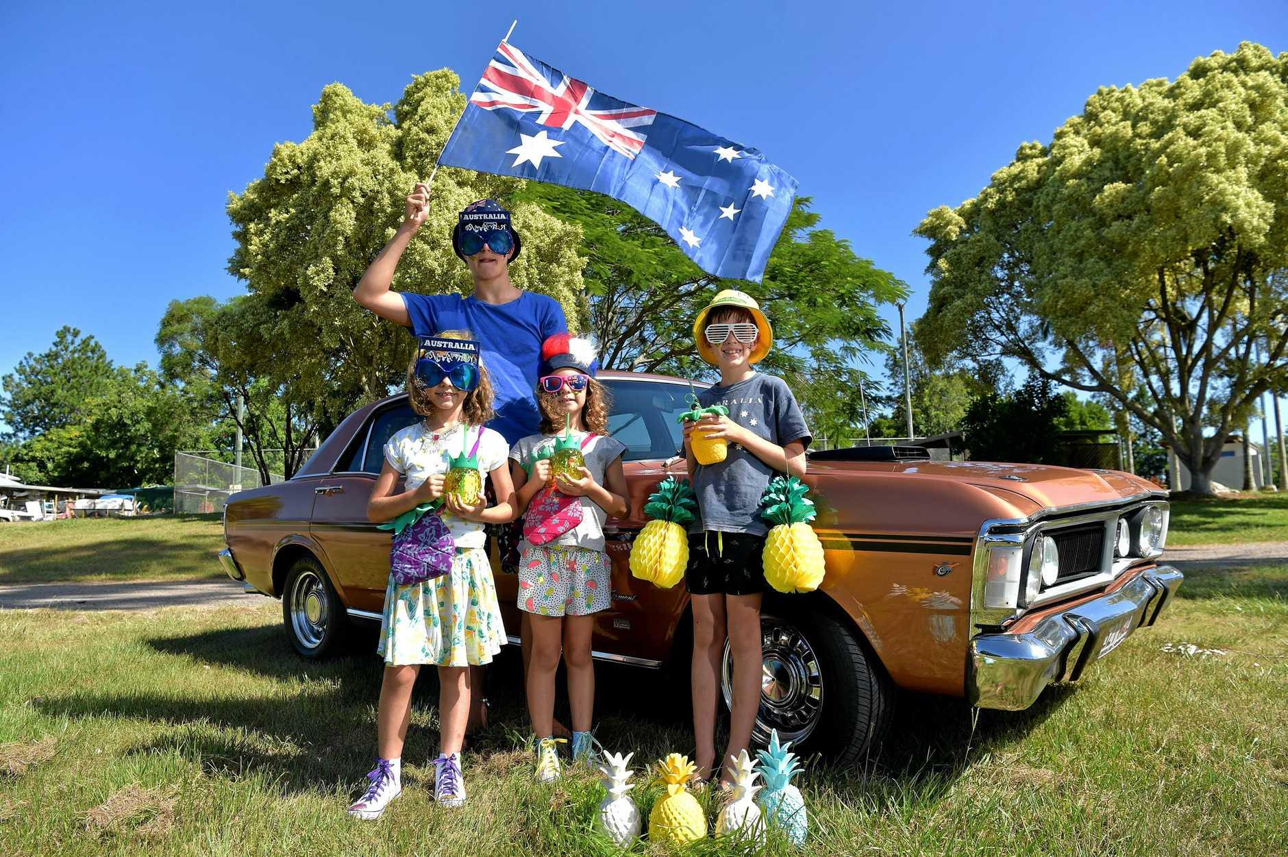 Preview for the Australia Day Show 'n' Shine, Pineapple Festival Glasshouse Mountains Sports Club.Roman De Clara,12, Jade and Zali Fullerton ,7, and Andre De Clara,8,ready for the big day