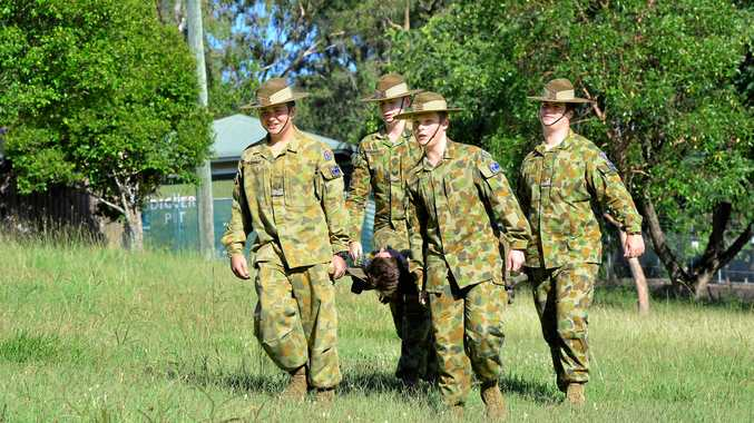 SKILLS FOR LIFE: Australian Army Cadets (from left) Zac Watkins, Jacob Snodgrass, Peter Farrell and Lachlan Pye at the 127 ACU, Ipswich.