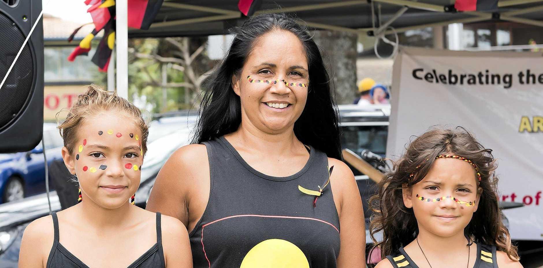 AUSTRALIA'S BIG DAY: YiYi, Delta Kaye and Indira at the Byron Bay Survival Day Celebrations in 2017.