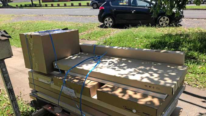 DUMPED: The flat-pack furniture was dropped off outside Aimee Parr's home, 3km from the IKEA depot in Lismore, for $50.