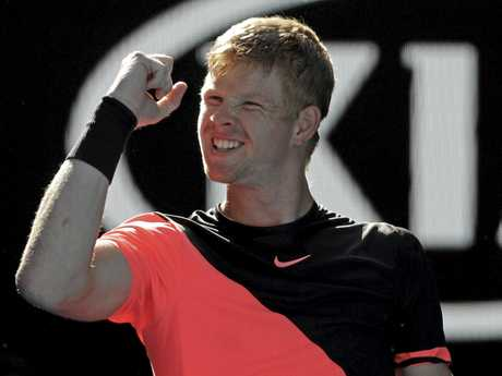 Kyle Edmund reacts after defeating Bulgaria's Grigor Dimitrov.