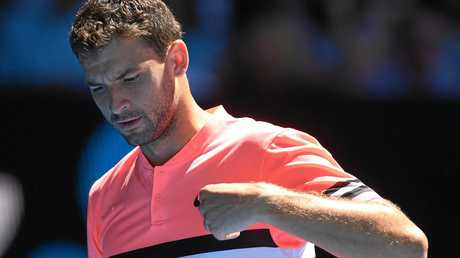 Grigor Dimitrov during his quarter-final loss at the Australian Open.