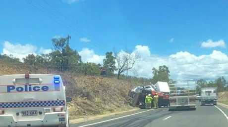 A truck that rolled on Yeppoon Rd this morning was blocking traffic.