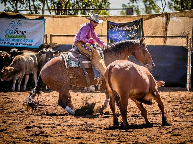 Rachel Leitch and SP Gunsablazin atnon pro event at the Rolleston Wildhorse Cutting Show.