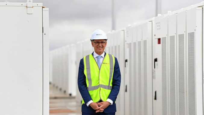 SA Premier Jay Weatherill tours the new Tesla battery site during the launch of Tesla's 100 megawatt lithium-ion battery at Jamestown, north of Adelaide, Friday, December 1, 2017.