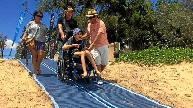 Cameron D'Amico was one of the first to officially trial the Mobi-Mat beach access mat in January.