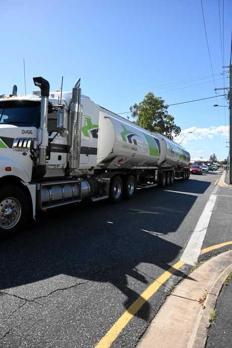 A truck passing through Rockhampton ahead of a flood peak last year following Cyclone Debbie.