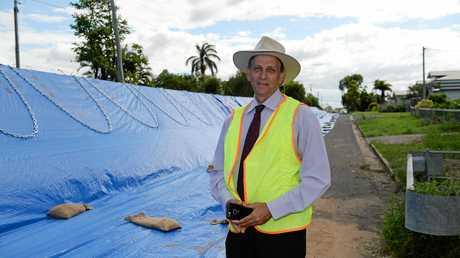 Cr Tony Williams with flood mitigation in North Rockhampton.