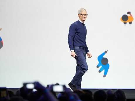 Apple CEO Tim Cook launched the company's new smart speaker at its annual conference in June 2017. Picture: Supplied