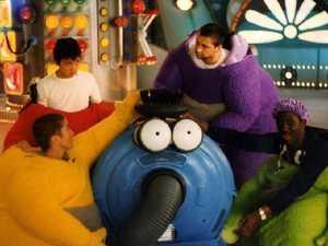 Simon Shelton Barnes (in purple) with his Teletubbies castmates. Picture: BBC