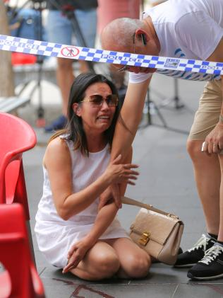 in tears at the bloody scene today. Picture: John Grainger