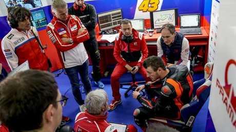 Pramac and factory Ducati engineers listen to Miller's feedback during testing. Pic: Pramac