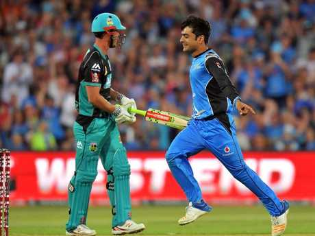 Chris Lynn is controversially dismissed by Adelaide's Rashid Khan.