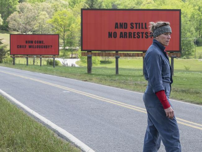 Frances McDormand is hot favourite to take out an Oscar for her performance in Three Billboards Outside Ebbing, Missouri. Picture: Fox Searchlight via AP