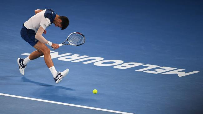 Novak Djokovic was hampered by an elbow injury against South Korea's Hyeon Chung.
