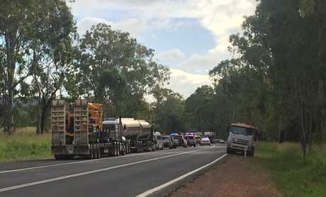 Emergency services are at the scene of a single vehicle crash at Gladstone Mt Larcom Rd.