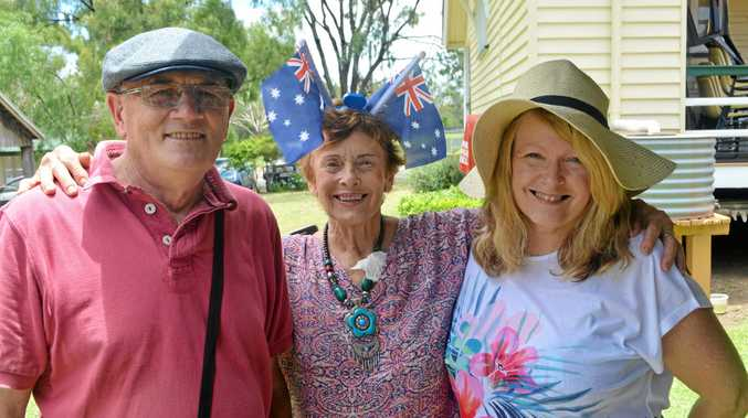 GOOD FUN: Laidley locals Reverend Bob Blackburn and Valarie Thulborn and Suzanne Lazarevski joined the Australia Day celebration at Pioneer Village last year.