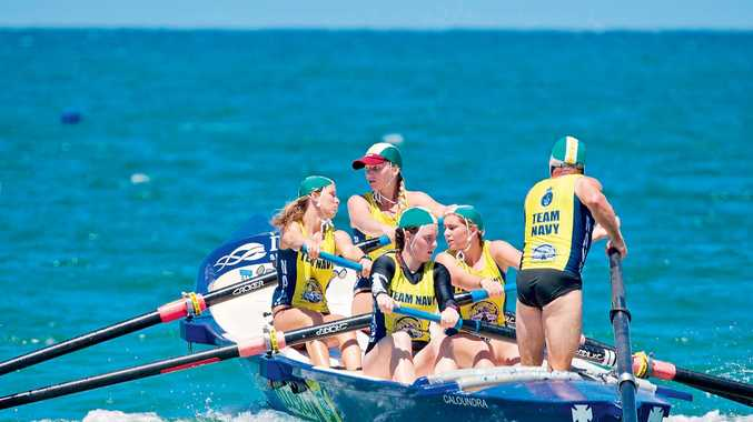TITLE DEFENCE: The Dicky Beach team - (from left) Victoria Barby, Natalie Dean, Kate Morcom, Luca Sullivan and Rob Flood - is using this weekend's Queensland Cup round two as practice for the Australian Surf Rowers League Open in Sydney next month.