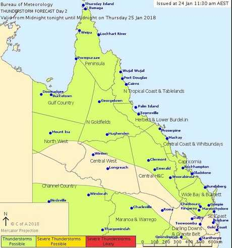 Thunderstorms are possible in Mackay today.