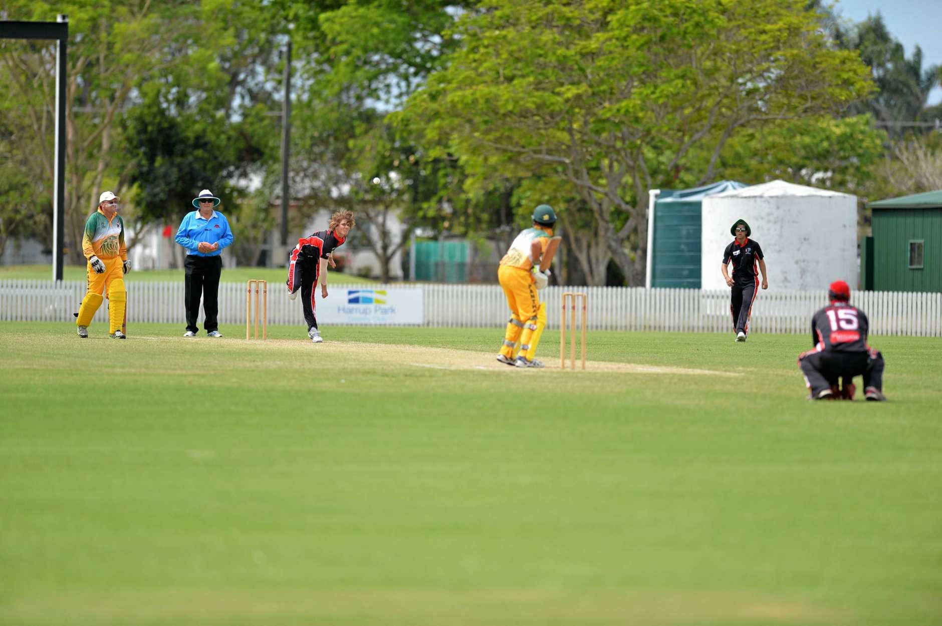 Lane Kohler sends down a delivery as Norths took on Pioneer Valley in Mackay Senior Cricket on Saturday