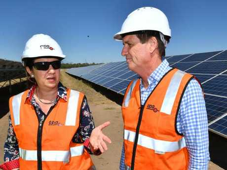 Premier Annastacia Palaszczuk with Energy Minister Anthony Lynham at a solar farm.