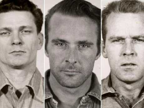 The prison mug shots of convicts of, left to right, Frank Lee Morris, Clarence Anglin and John Anglin. Escape from Alcatraz. Picture: Supplied