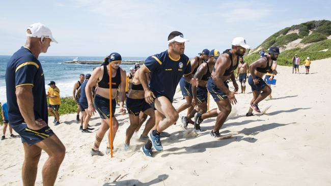 Jarryd Hayne in preseason training at Soldiers Beach on the Central Coast. Please given picture credit to Benjamin Quevas