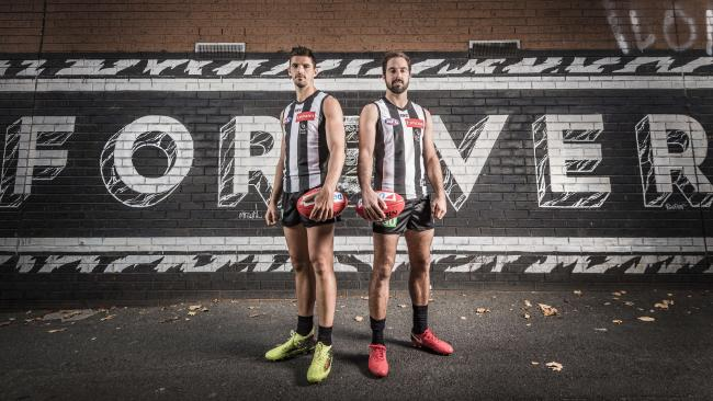 Collingwood captain Scott Pendlebury and vice-captain Steele Sidebottom. Picture: Jason Edwards