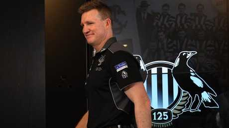 Collingwood coach Nathan Buckley after being reappointed last year.