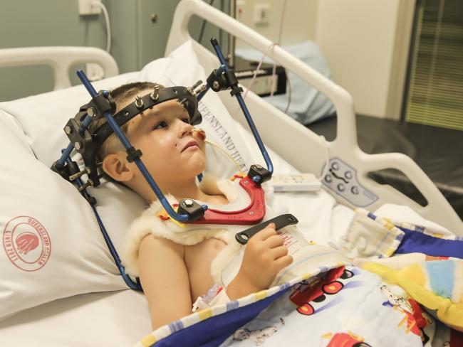 Cameron Calvisi in Lady Cilento Children's Hospital. Picture: Mark Cranitch