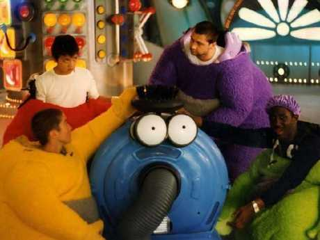 Simon Shelton Barnes (in purple) pictured with other Teletubby actors. Picture: BBC