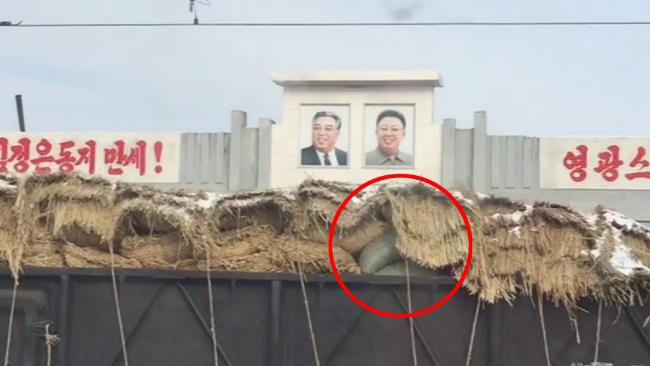 A British teen on holiday in North Korea has filmed what he suspected to be a sanctions-busting train of goods in the rogue state. Picture: The Sun