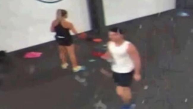 Joshua Stimpson walks past Molly McLaren at PureGym at the Dockside retail outlet in Chatham, Kent shortly before he stabbed her to death. Picture: Kent Police/PA