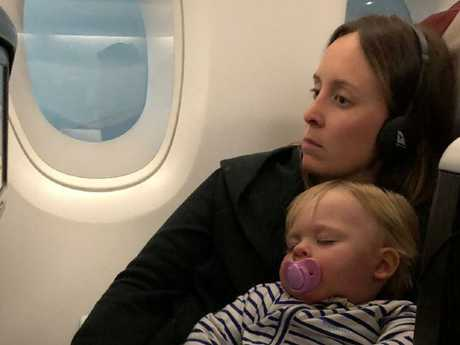Fifteen-month-old Cooper slept through the first flight, but the journey took a turn.