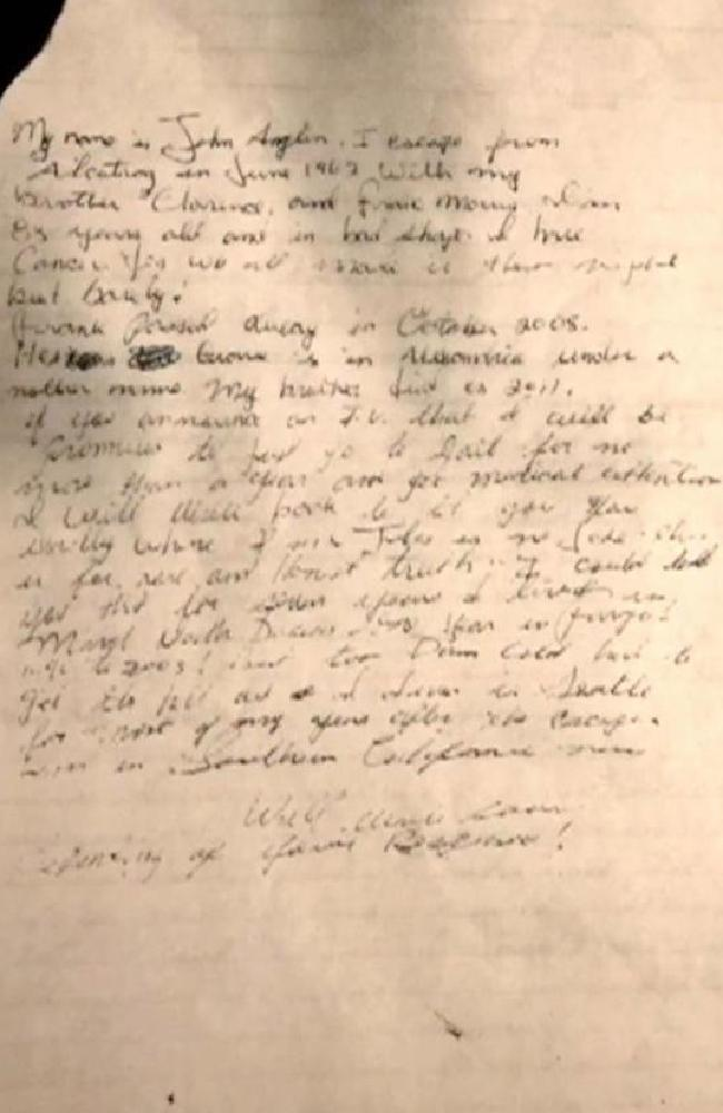This letter is said to be written by John Anglin who was thought to have died after escaping from Alcatraz. Picture: Supplied