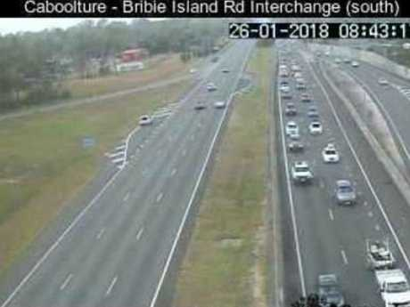 CLOGGING: Bruce Highway traffic northbound at the Bruce Hwy-Caboolture/Bribie Island Interchange is building already.