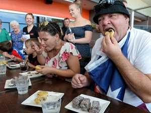 VIDEO: What happens at an Aus Day pie eating competition