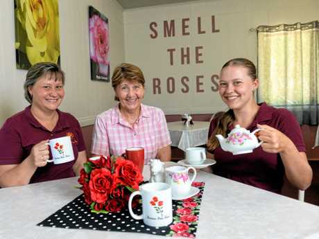 Bartons Rose Farm in Kalbar spans generations. Owner Pam Barton (centre), her daughter Renee Noe (left) and her granddaughter Brooke Noe are all involved with the business.